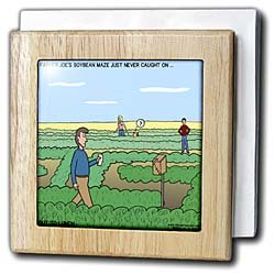 Rich Diesslins Funny Out to Lunch Cartoons - Farmer Joes Soybean Maze - Tile Napkin Holders