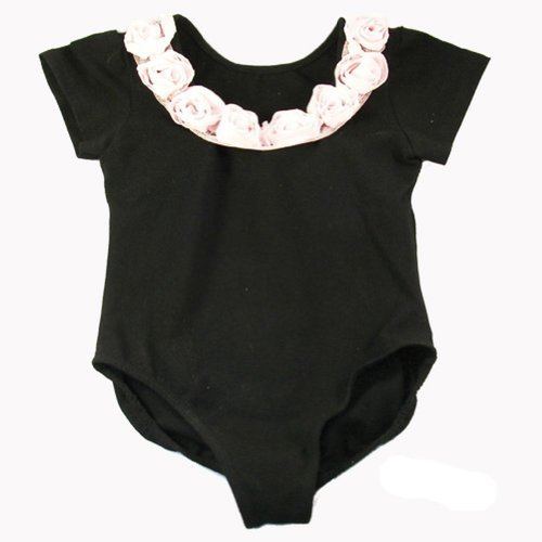 reflectionz Little Girls Black Pink Rosette Dance Ballet Leotard 2-6 Reflectionz