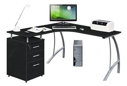 HJH Office Castor Scrivania ad angolo con cassetti graphit / silber