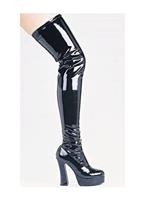 5 Inch Chunky Heel Thigh High Stretch Boots Women's Size Shoe (Black;5)
