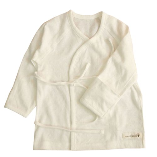 100% Organic Cotton Newborn Long Sleeve Side Snap Shirt Jacquard Ivory front-3129