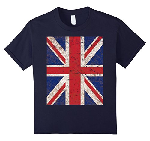 Kids Vintage Union Jack UK British Flag T-Shirt 10 Navy (British Flag Tshirts compare prices)
