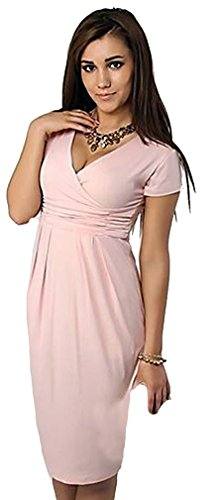 Dear-Lover Women'S Deep-V Neck Knee-Length Dress 204, Pink Large