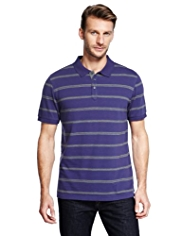 Pure Cotton Slim Fit Birdseye Striped Polo Shirt