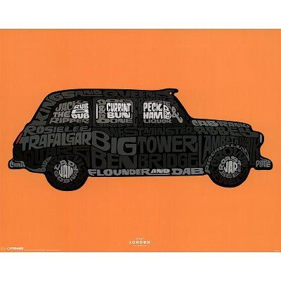 Visit London Taxi Art Poster Print - 16x20