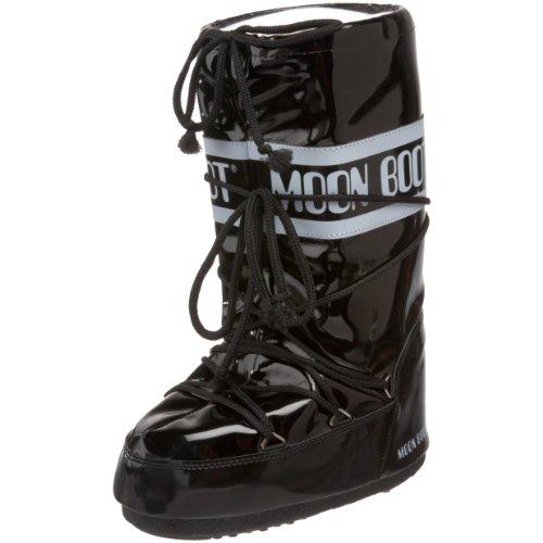 Tecnica Moon Boot Women's Vinil Winter Boot,Black/White,35-38 EU (3-6.5 M US Women's) (Tecnica Shoes compare prices)