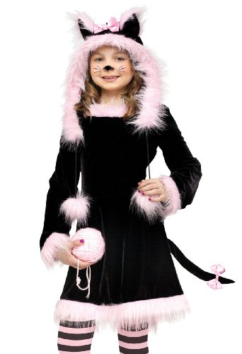 Fun World Kids Girls Black Kitten Cat Halloween Costume