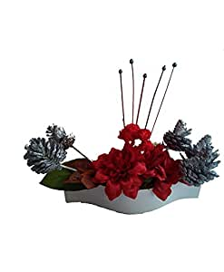 floral expressions Floral Expressions Red Dahlia Artificial Flowers With Vase