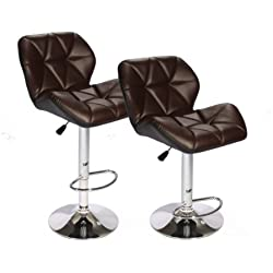 SET of (2) Brown Bar Stools Leather Modern Hydraulic Swivel Dinning Chair BarstoolsB01
