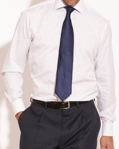 Savile Row Mens Navy White Fine Stripe Slim Fit Formal Shirt Collar Size17.5