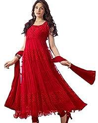 DivyaEmporio Women's Faux Georgette Red Anarkali Dress Material