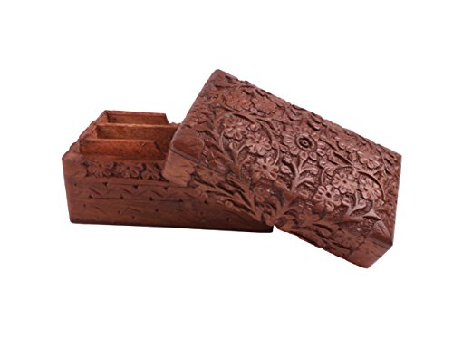 Rustic Exotic Hand Carved Wooden Small Bridge Playing Card Holder Box Double Deck Case with Floral Motif