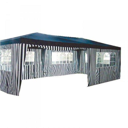 Pavillon 6 x 3 m Blau - Weiß