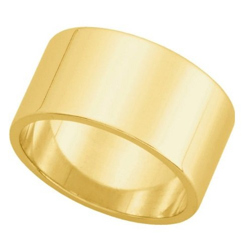Amythyst Yellow Tone Stainless Steel Extra Wide 14Mm Band / Ring (Size 6)