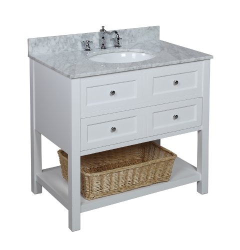 36 Inch Bathroom Vanity With Italian Carrera Marble Countertop White Cabinet
