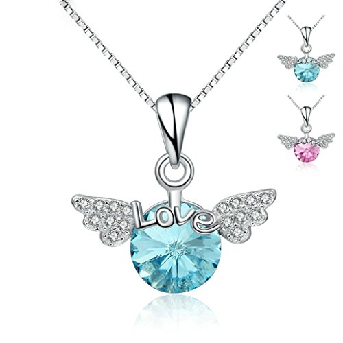 Beydodo Silver Plated Necklace(Pendant Necklaces)For Women Cubic Zirconia Angel Wing Love Pink (Madonna Material Girl Fancy Dress)