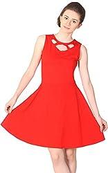 Unimod Women's Skater Dress (Red, XS)