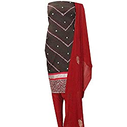 APKAMART Women Cotton Tie and Dye or Rajasthani Bandhej Black and Red with Nylon Dupatta - Unstitched Dress Material - 2.2 Meters