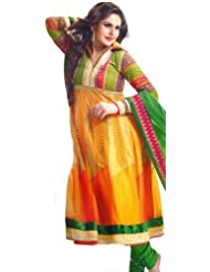 Exotic India Citrus-Yellow Anarkali Choodidaar Kameez Suit With - Citrus-Yellow