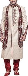 Amafhh Men's Silk Sherwani amfiw9308_40 Beige 40