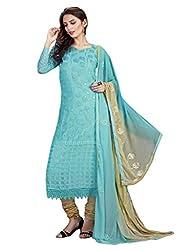 1 Stop Fashion Sky Blue Semi Stitched Chiffon Straight Cut Salwar Kameez