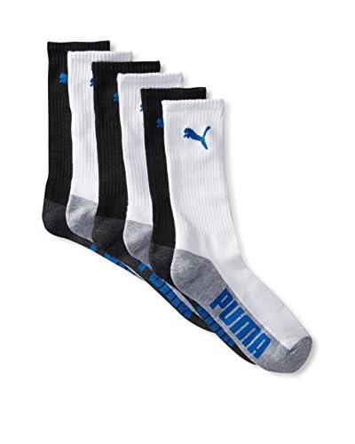 PUMA Men's 6 Pack Crew Socks, White/Grey/Black, One Size