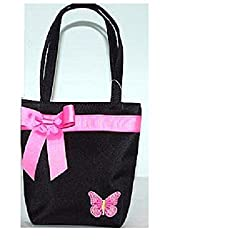 Kids Purse Black w/Pink Ribbon Butterfly