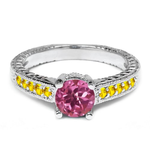 0.32 Ct Round Pink Tourmaline Yellow Sapphire 925 Silver Engagement Ring