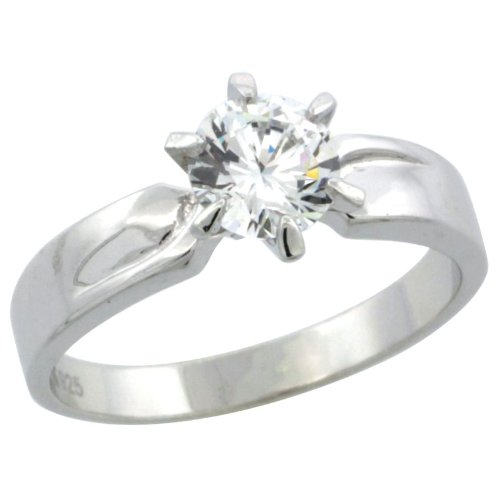 Sterling Silver 1 Carat Size 8.5 mm Engagement Ring CZ Stones Rhodium Finish, 5/32 in. 6 mm, Size 10