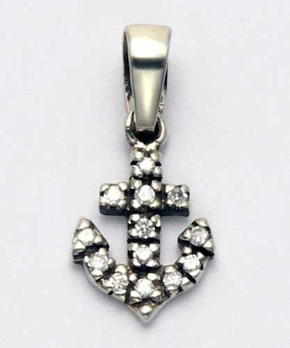 Sterling Silver Cubic Zirconia Nautical Anchor Pendant