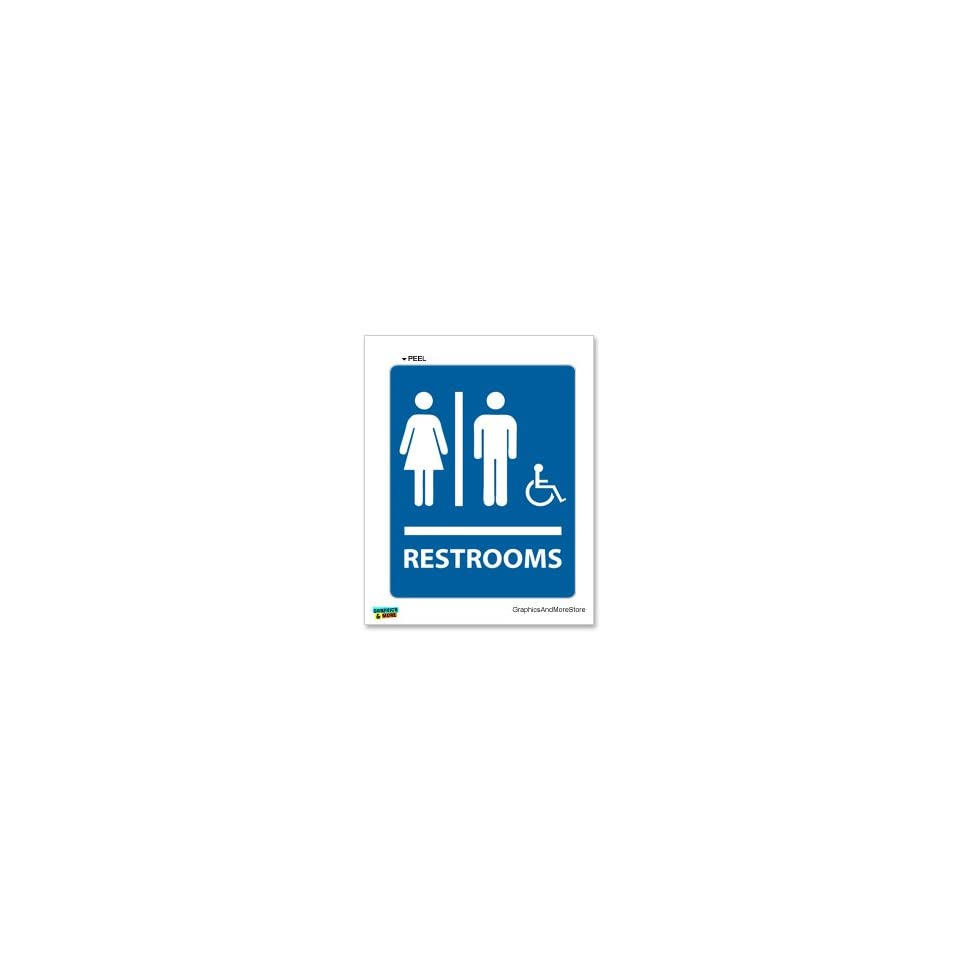 Restrooms   Unisex   Mens and Womens   Handicapped   Window Wall Sticker