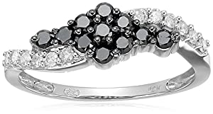 10k White Gold Black and White Diamond Swirl Ring (0.50 cttw, H-I Color, I2-I3 Clarity), Size 6