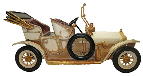 Lesser & Pavey 6-Piece Metal Vintage Car Collectible, Cream/Gold