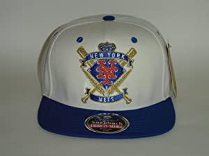 MLB New York Mets Logo White 2 Tone Retro Snapback Cap by American Needle