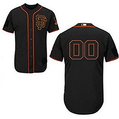 SuJe Men's San Francisco Giants Custom Jersey Alternate Black Size S-3XL