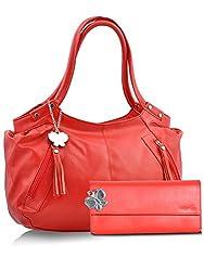 Butterflies Combo Handbag (Red) (BNS CB022)