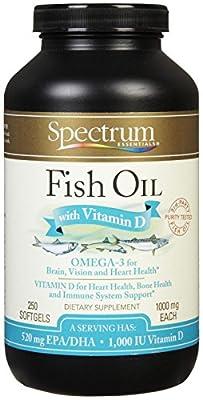 Spectrum Essentials Fish Oil with Vitamin D Softgels, 1000 mg, 250 Count