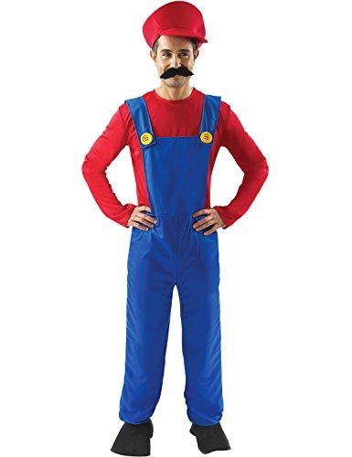 Super Mario Klempner Kostüm Karneval Verkleidung Herren Standard