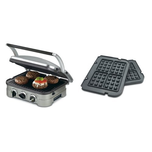 Cuisinart GR-4N 5-in-1 Silver Griddler, Black Dials, and Waffle Plates Bundle (Cuisinart Waffle Griddle Plates compare prices)
