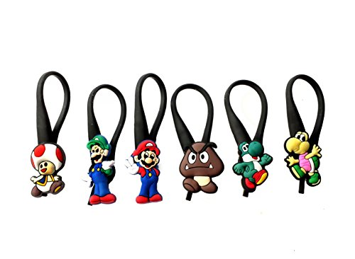 6 pcs Super Mario Brothers #1 Soft Zipper Pull Charms for Backpack Bag Pendant Jacke