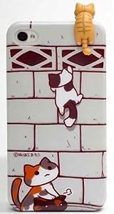 にゃんこ型イヤフォンジャックカバー ぶらさがり限定版(トラ)+iphone4/4sカバー ブロック/ピンクカンパニー
