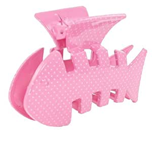 Woman Plastic Light Pink Fish Design White Dots Print Barrette Hairclip Claw