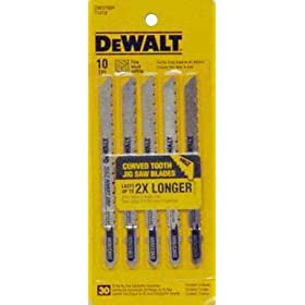 DEWALT DW3760H 4-Inch 10TPI Fine Finish Wood Cut HSC T-Shank Jig Saw Blade (5-Pack)