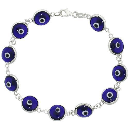 Sterling Silver Navy Blue Evil Eye Link Bracelet. Gift Box Included