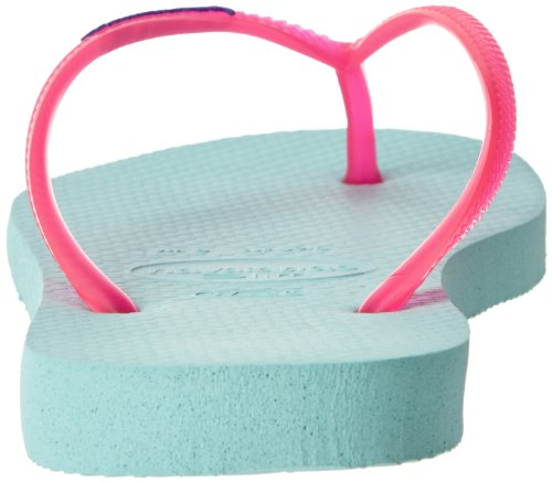 Havaianas Women's Slim Logo Pop Up Flip Flop,Acqua,37 BR/7/8 M US