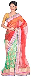 Sree Howrah Stores Women's Net Saree with Blouse Piece (Red and Green)