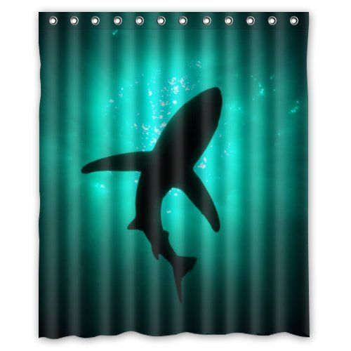 Eco Friendly Abstract Sea Shark Silhouette Ocean Animal Fish Printed Fabric Shower Curtain Polyester Waterproof Bathroom Curtains with Free Hooks 60