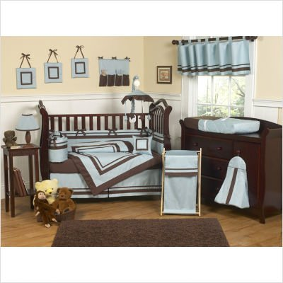 Hotel White And Navy Crib Bedding Collection