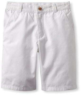 Kitestrings Big Boys' Big Cotton Twill Flat Front Short, White, 8