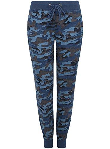 oodji Ultra Donna Pantaloni in Maglia Stile Militare, Blu, IT 40 / EU 36 / XS